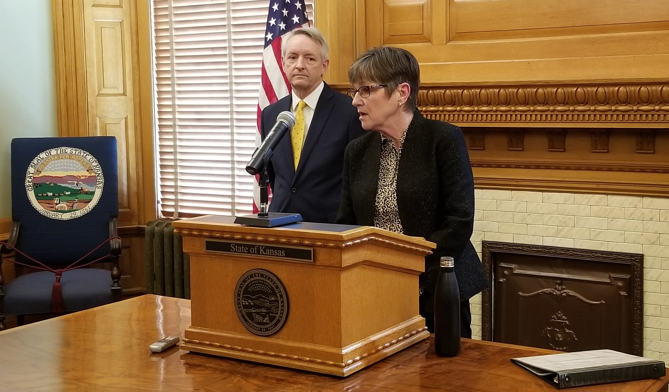 Gov. Laura Kelly and Judge Jack earlier this year. (Photo by Stephen Koranda)