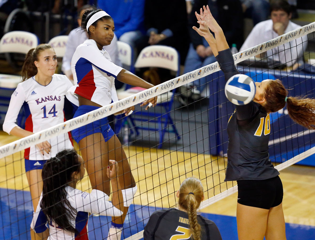 Kelsie Payne had 16 kills vs. Mizzou in the NCAA tournament and was a first-team All-American last year. (Photo by Jeff Jacobsen / KU Athletics)
