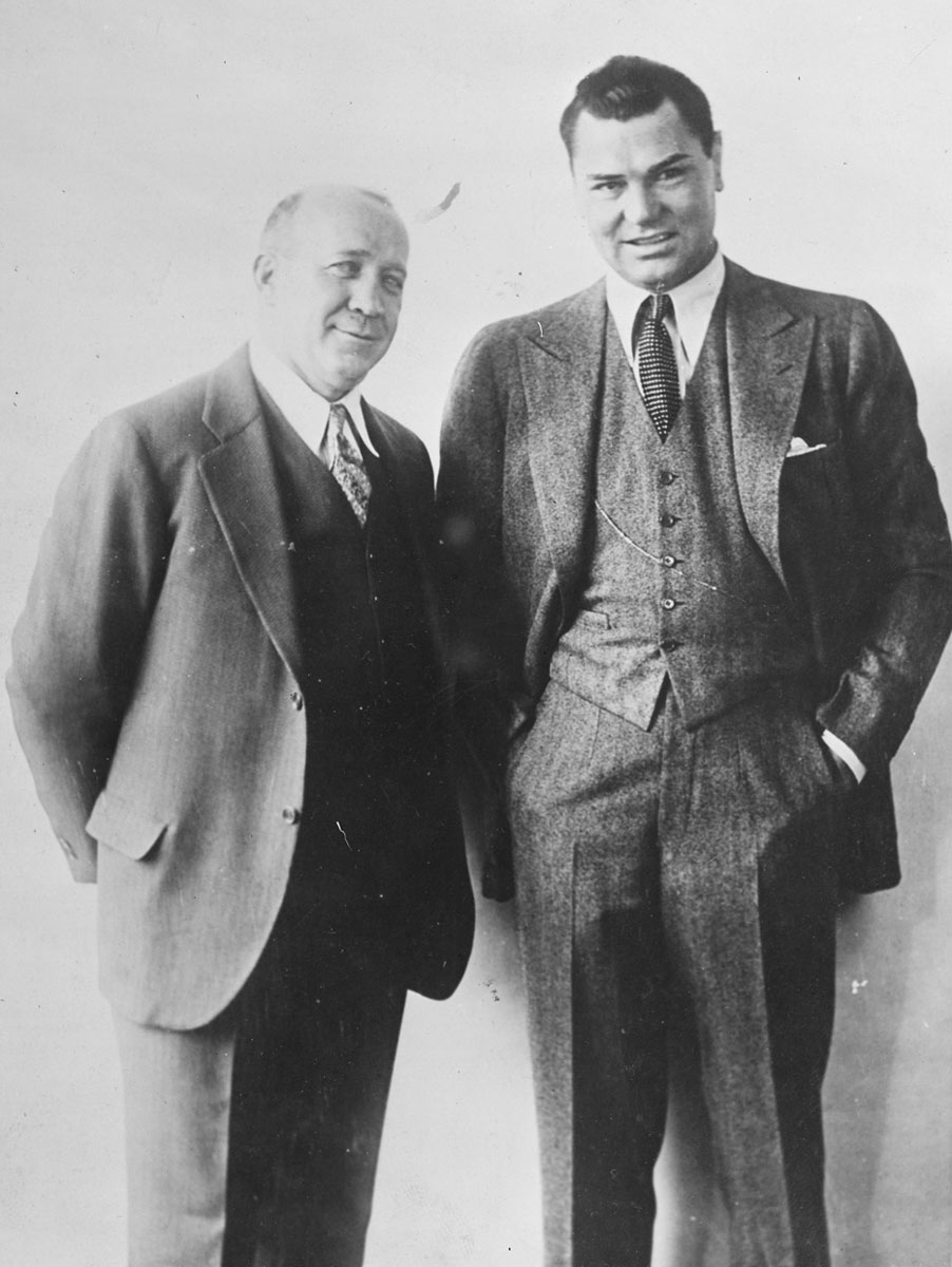 Knute Rockne (left) and Jack Dempsey (Flickr Photo Courtesy of the Boston Public Library, Leslie Jones Collection)