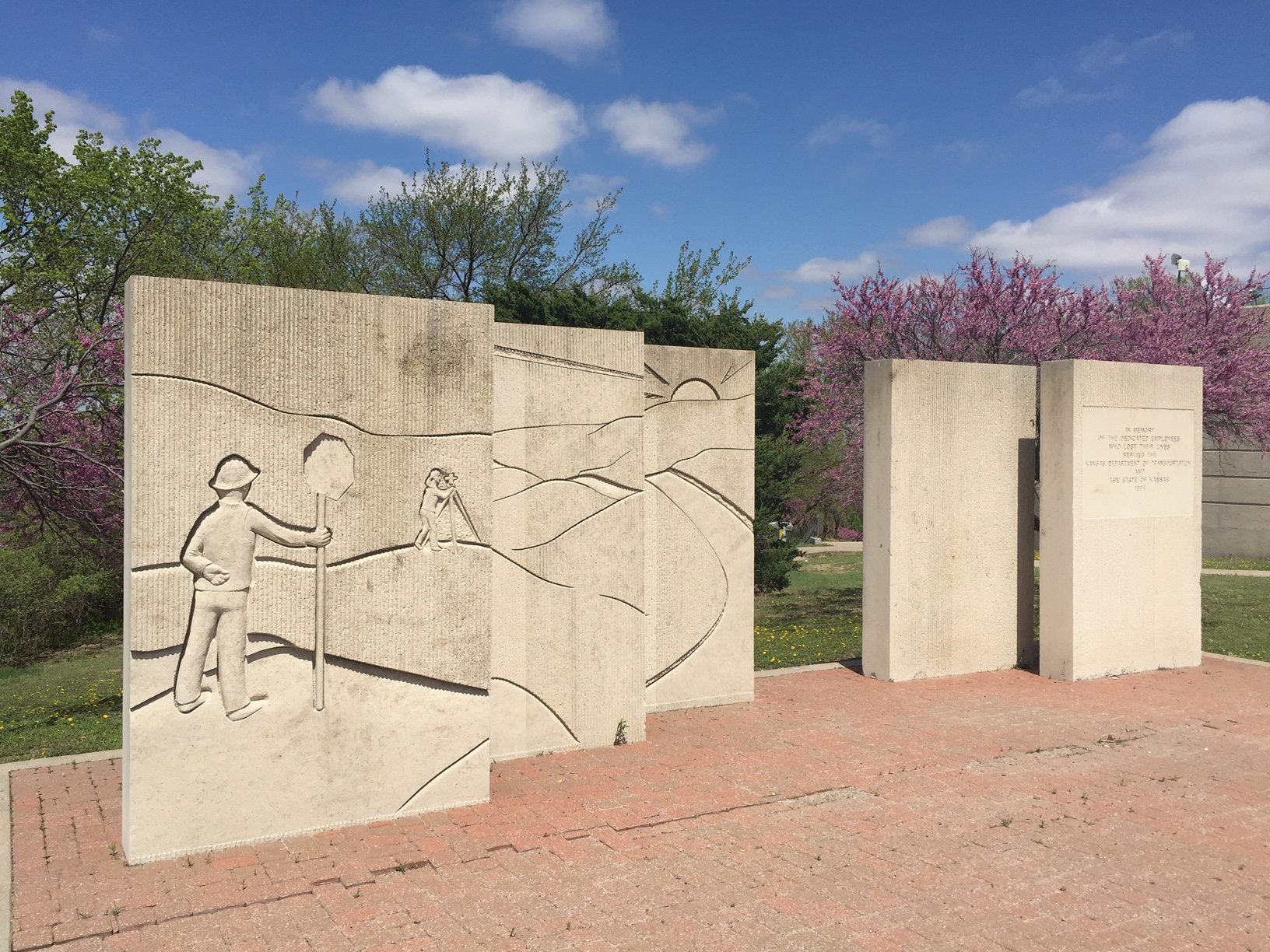 This memorial, honoring Kansas highway workers killed on the job, can be seen at the Paxico Rest Area, along Interstate 70, in Wabaunsee County. (Photo by J. Schafer)
