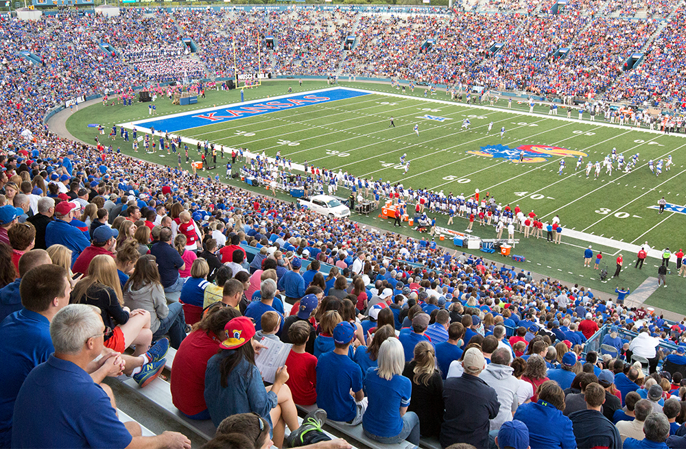 KU fans fill Memorial Stadium in this file photo from J. Schafer.