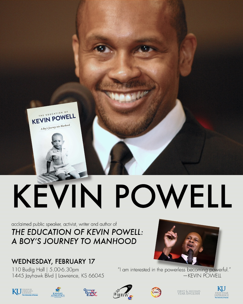 Kevin Powell is speaking at Budig Hall on the KU Lawrence campus on February 17th.