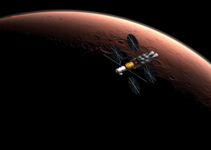 This Mars orbiter, designed by KU aerospace engineering students, also took First Place in the AIAA competition.