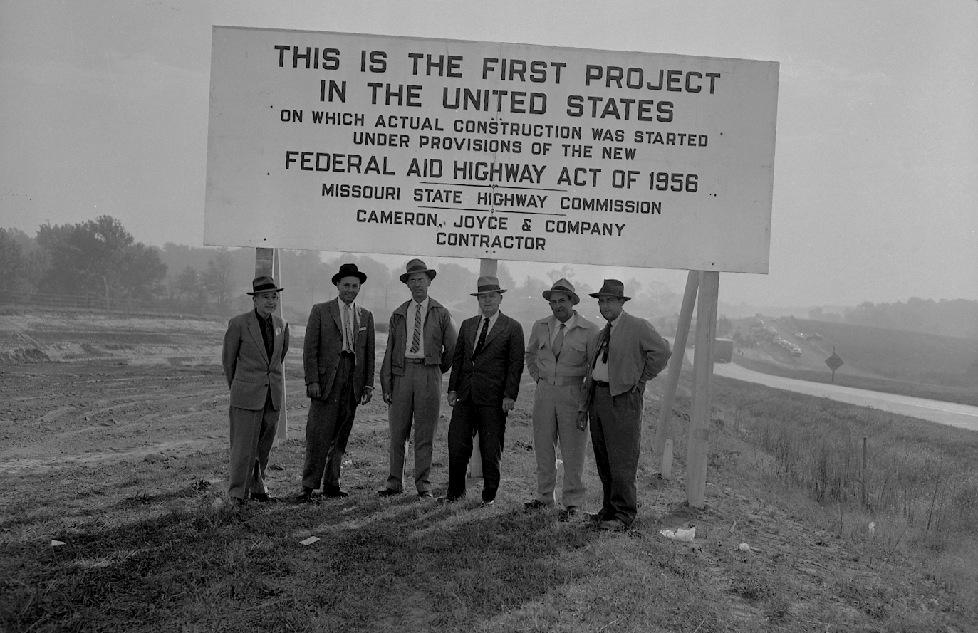 Missouri is where the first project on which actual construction began under the Federal-Aid Highway Act of 1956. This sign was put up to commemorate the project along U.S. 40 (the future I-70) in St. Charles County. (photo credit: Missouri Department of Transportation)