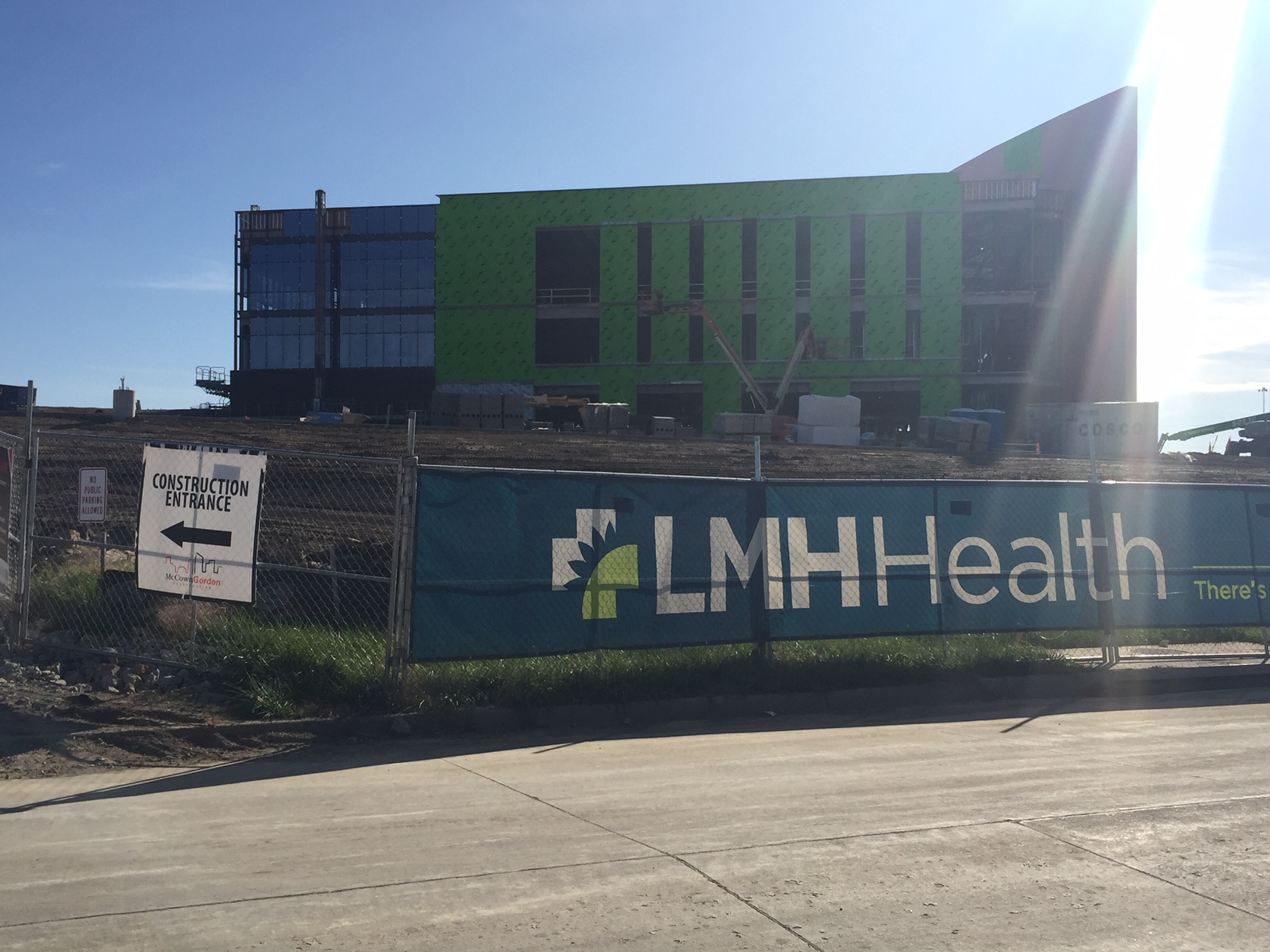 Construction continues at the LMH Health West Campus in northwest Lawrence.  Located near Rock Chalk Park, the outpatient facility is part of the hospital's $100 million expansion plan.  (Photo by J. Schafer)