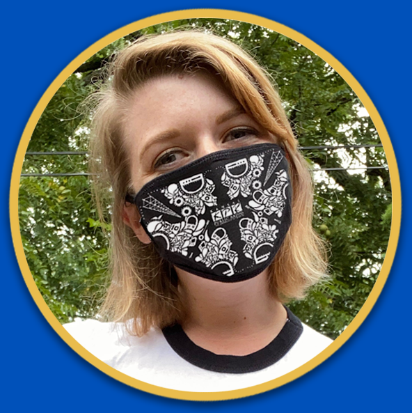 This 3-ply cotton mask with filter pocket and all around binding is soft and breathable. Machine washable. Designed by KPR Intern, Emily Fisher.