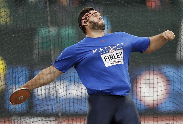 Former University of Kansas athlete and Lawrence resident Mason Finley competing during the men's discus throw final at the U.S. Olympic Track and Field Trials in Eugene Oregon in 2016. (Photo credit: Lawrence Journal-World) .