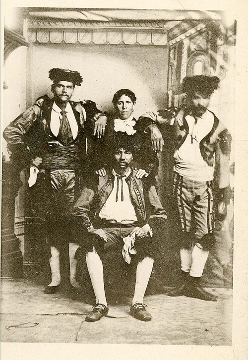 Four of the Mexican or Spanish bullfighters who came to stage a bullfight in Dodge City, Kansas, on July 4 and 5, 1884.  (Photo from the Kansas Historical Society)