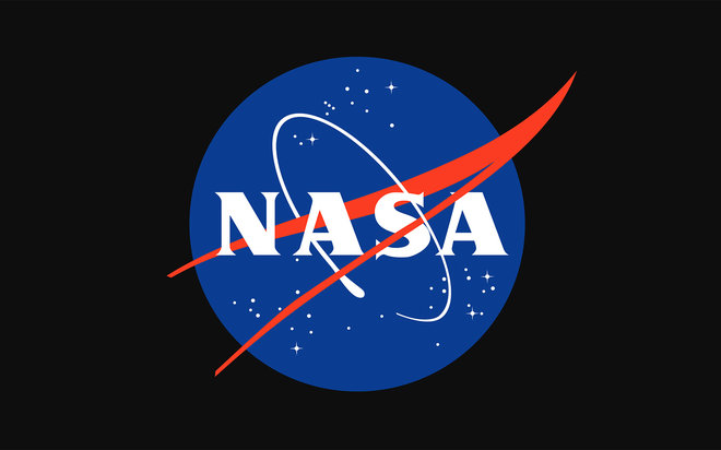 "This red, white and blue round insignia for NASA is nicknamed the ""meatball.""  It was designed by James Modarelli, a space agency employee, in 1959."