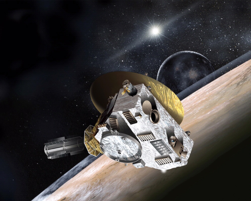 Artist concept of New Horizons spacecraft. New Horizons is a NASA space probe launched in January 2006 to study Pluto, its moons and one or two other Kuiper belt objects, depending on which are in position to be explored. (Credit: Johns Hopkins/Applied Physics Laboratory)