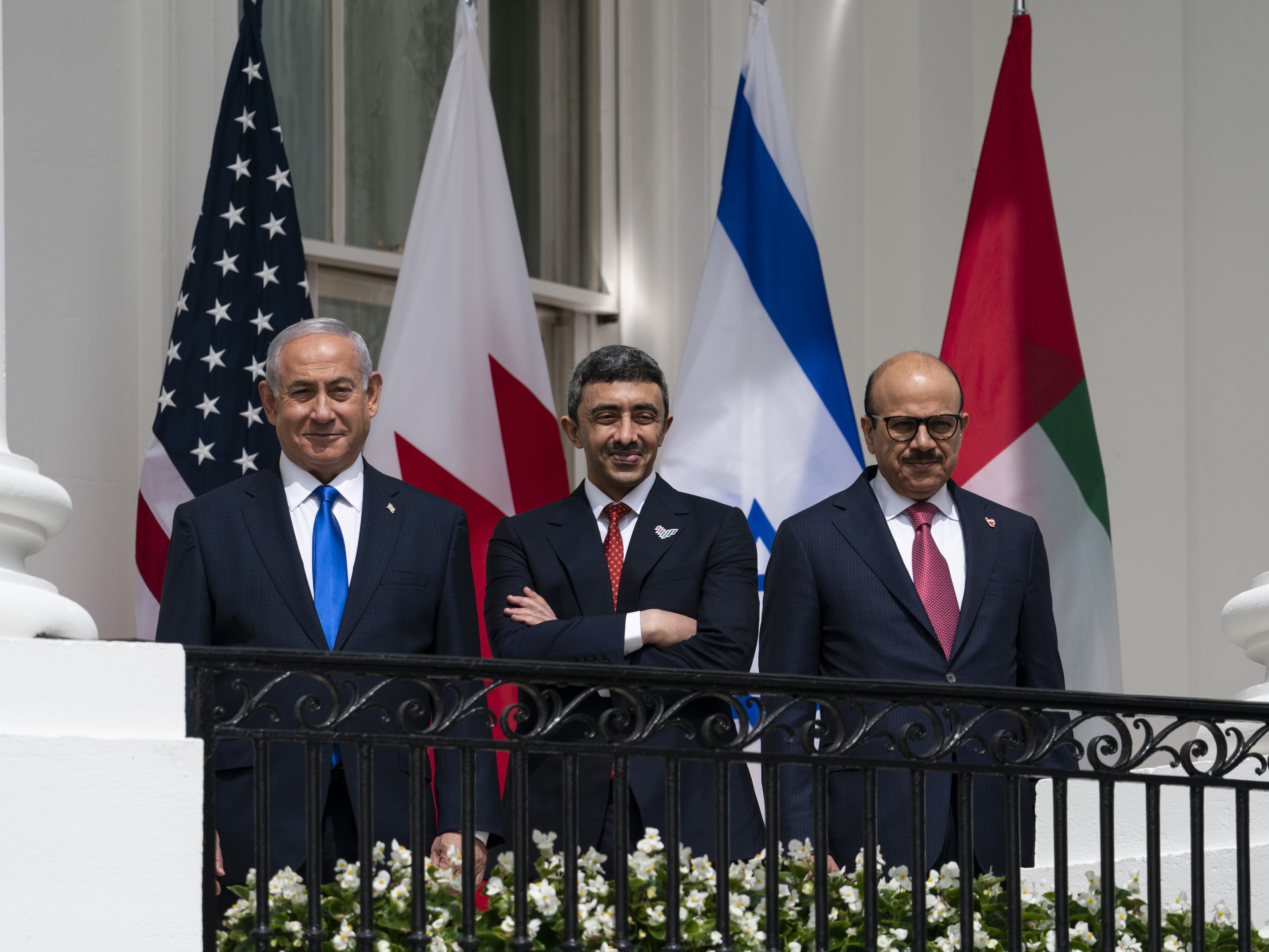 Israeli Prime Minister Benjamin Netanyahu (left), United Arab Emirates Foreign Minister Abdullah bin Zayed al-Nahyan (center) and Bahrain Foreign Minister Khalid bin Ahmed Al Khalifa during the Abraham Accords signing ceremony in September.