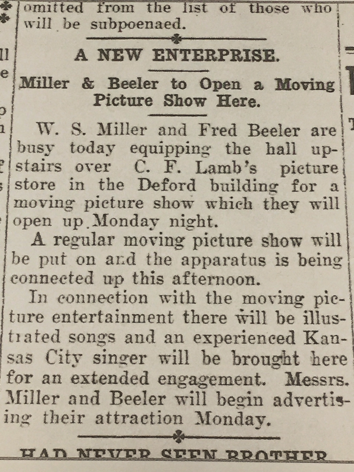 "Early advertisement for ""moving picture show"" as seen in the Ottawa Daily Republic newspaper, March 9, 1907.  (Courtesy of the Ottawa Public Library)"