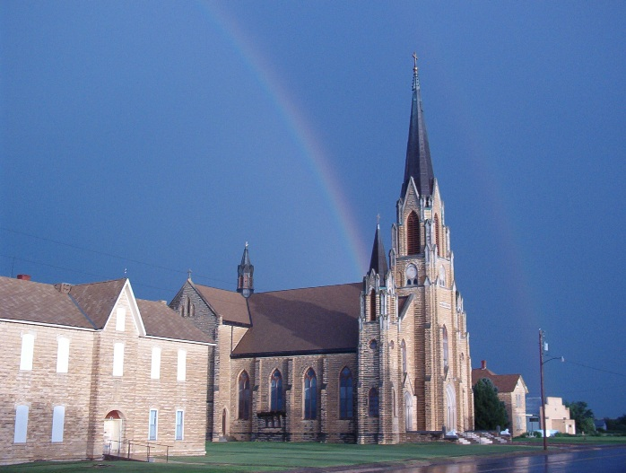 "Rainbow over Holy Cross Church in Pfeifer, Kansas. (Photo Courtesy of Carol Billinger, <a href=""http://www.germancapitalofkansas.com"">www.germancapitalofkansas.com</a>)"