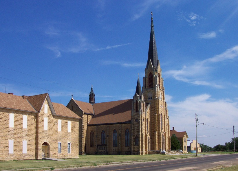 "Holy Cross Church in Pfeifer, Kansas. (Photo Courtesy of Carol Billinger, <a href=""http://www.germancapitalofkansas.com"">www.germancapitalofkansas.com</a>)"