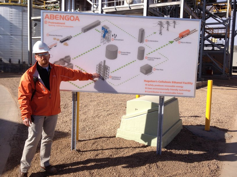 Engineer Kevin Gross uses a diagram of the plant to explain the process.
