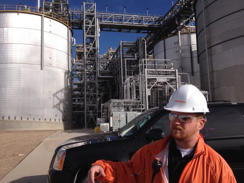"""Large tank behind engineer Kevin Gross is called a """"beer well""""--the """"beer"""" is not fit for human consumption."""