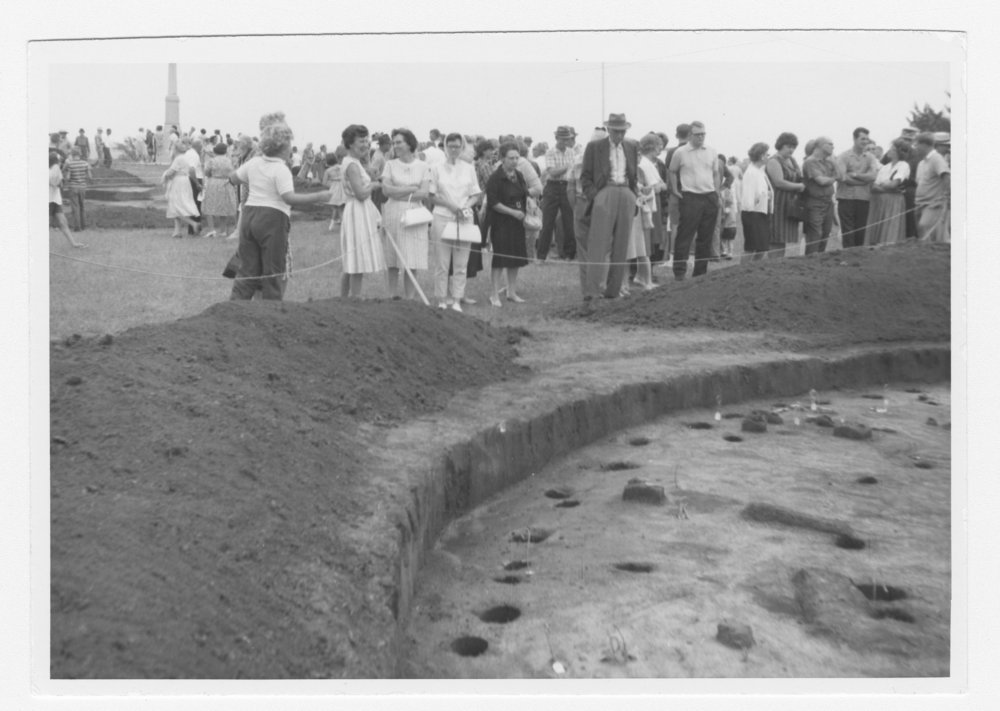 Open house at Pawnee Indian Village Museum in Republic County, Kansas (August 22, 1965). The Pawnee Indian Museum is the oldest historic site owned by the state of Kansas. In 1899 George and Elizabeth Johnson deeded to the state of Kansas most of the site upon which a large Kitkehahki (Republican) band Pawnee earth lodge village had stood in the late 1700s. (Photo Courtesy of Kansas Historical Society / kansasmemory.org)