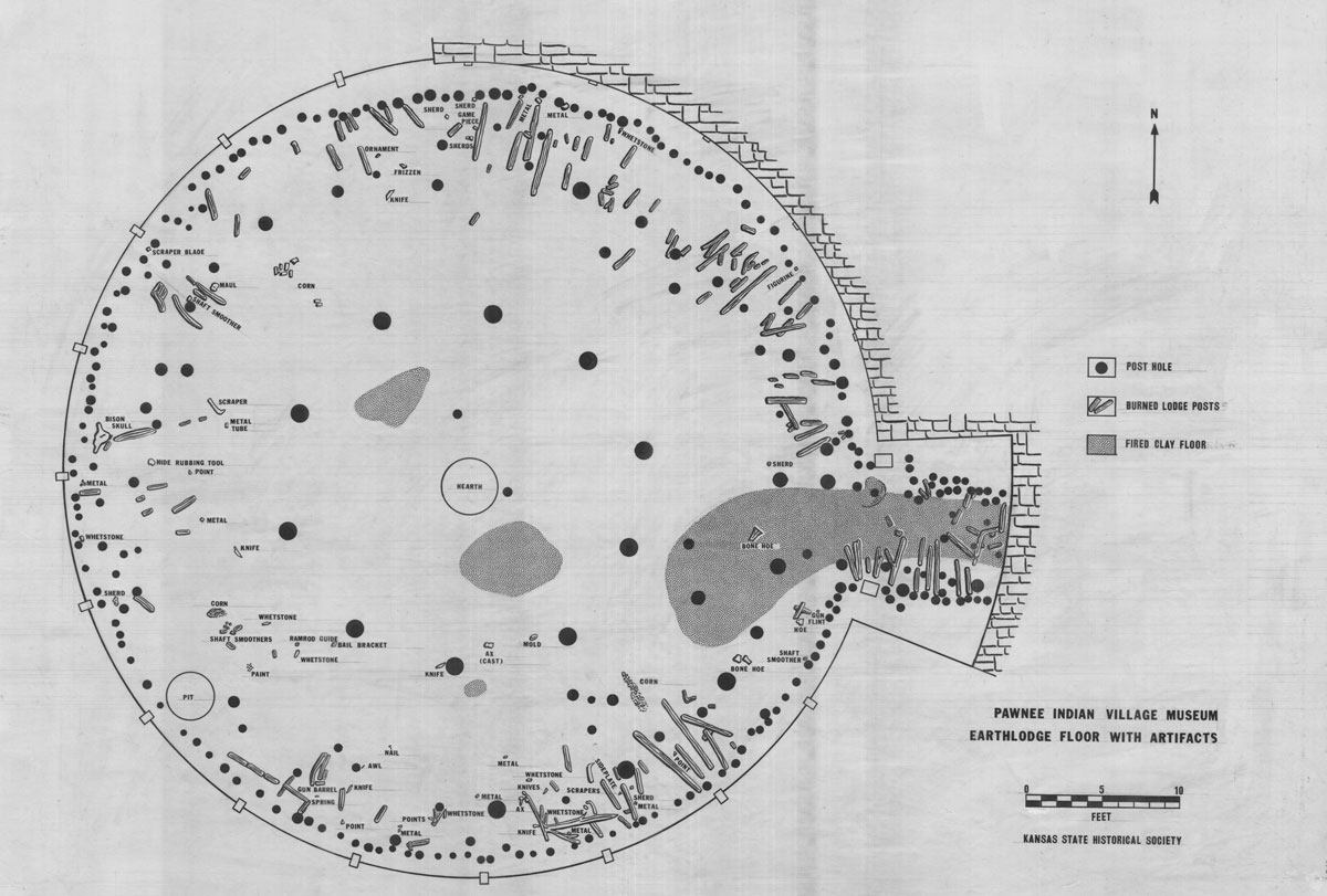 Drafted map of the excavated floor of House 5 at 14RP1, now exposed beneath the museum at Pawnee Indian Museum State Historic Site. House 5 was excavated in 1967 by Kansas Historical Society archeologists. (Photo Courtesy of Kansas Historical Society / kansasmemory.org)