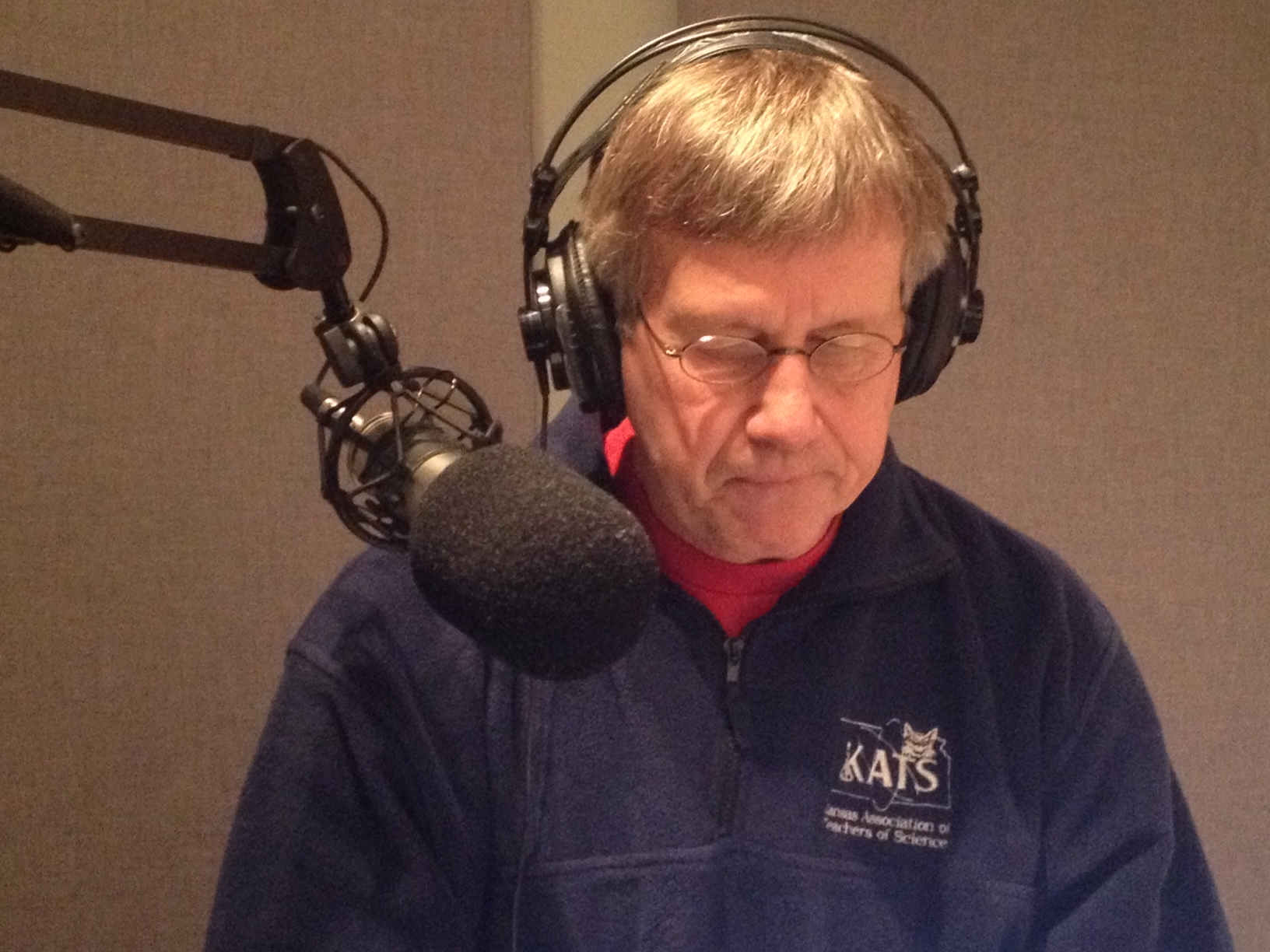 Rex Buchanan, recording a commentary in Studio D, at Kansas Public Radio. (Photo by J. Schafer)