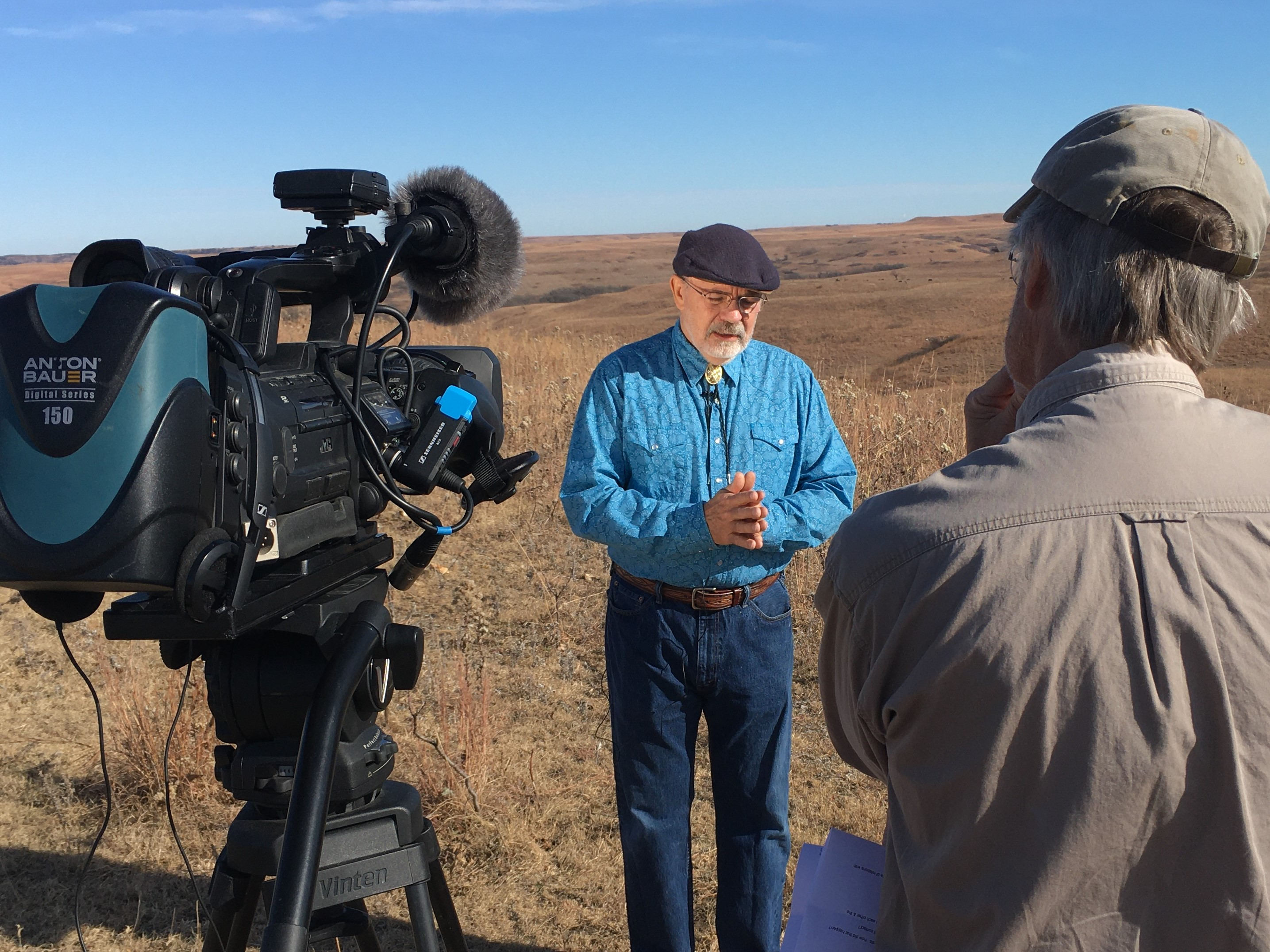 """Rex Buchanan, interviewing historian Jim Sherow for the documentary """"The Road to Santa Fe."""""""
