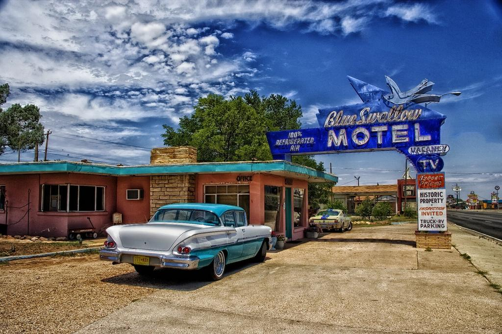 A motel along Route 66, as it winds through Tucumcari, New Mexico.