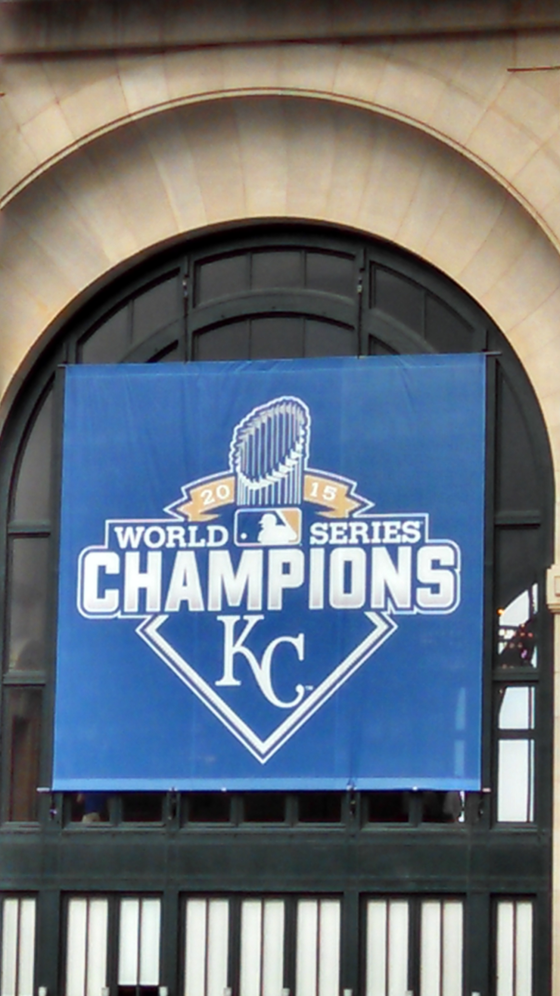 The banner hangs at Union Station. (Photo by Greg Echlin)