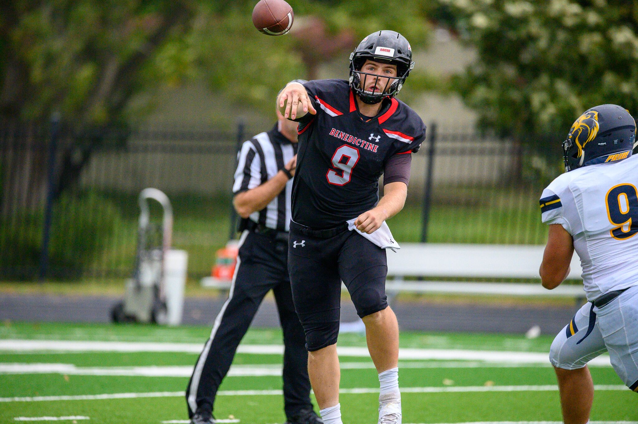 Ravens QB Shaefer Schuetz threw his first TD pass of the 2019 season on September 21, vs. Clarke in the Ravens 73-14 victory.  Schuetz played only the first half last Saturday at Baker because of an injured foot. (Photo by Jeremy Kaczor)