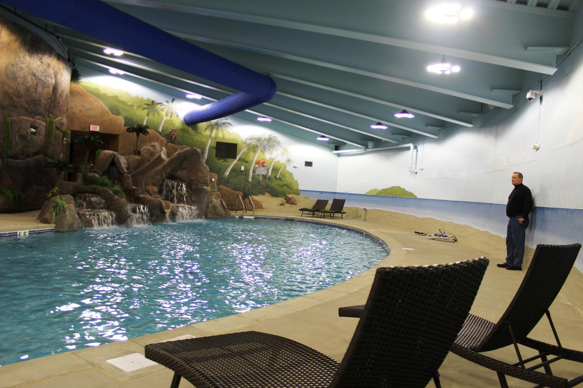 Swimming pool inside the former Atlas missile silo turned luxury bunker.