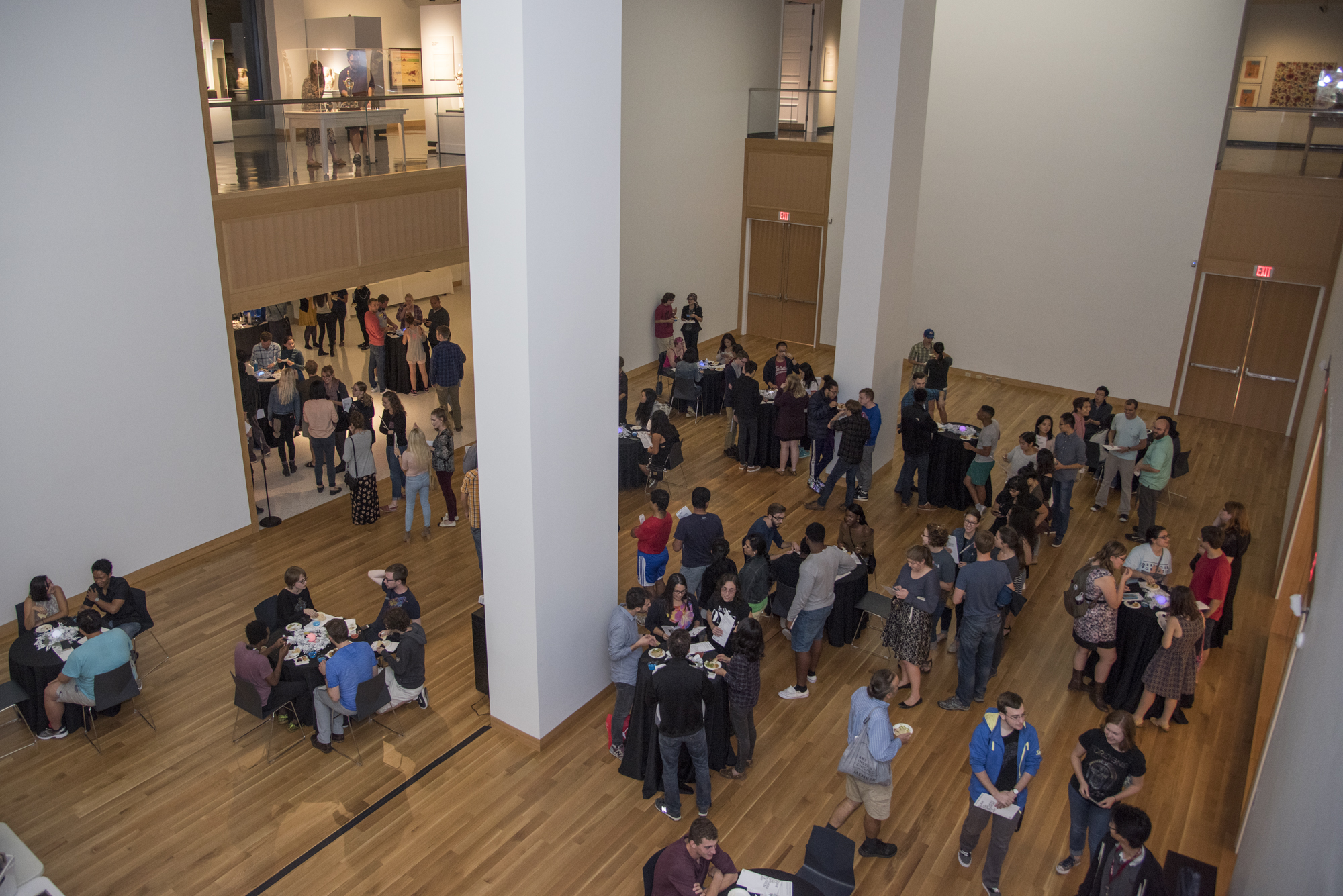Visitors explore the newly-renovated Spencer Museum of Art during a sneak-preview.