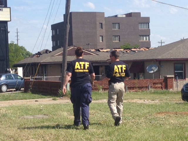 Agents with the federal bureau of Alcohol, Tobacco and Firearms on the scene Sunday morning. (Photo by J. Schafer)