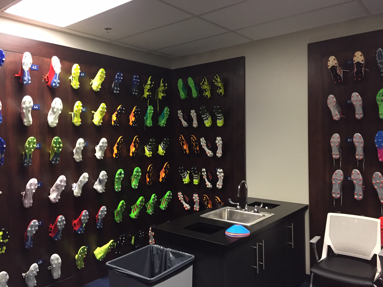 Wall of cleats, located next to Sporting Kansas City's locker room (Photo by J. Schafer)
