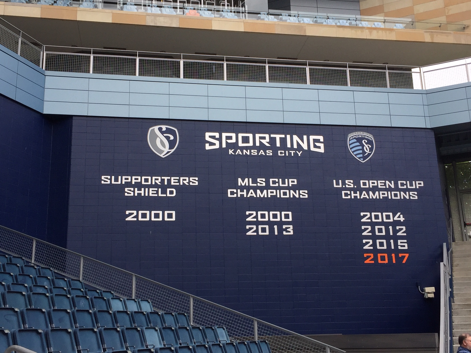 Wall of accomplishment inside Children's Mercy Park, home of Sporting Kansas City  (Photo by J. Schafer)