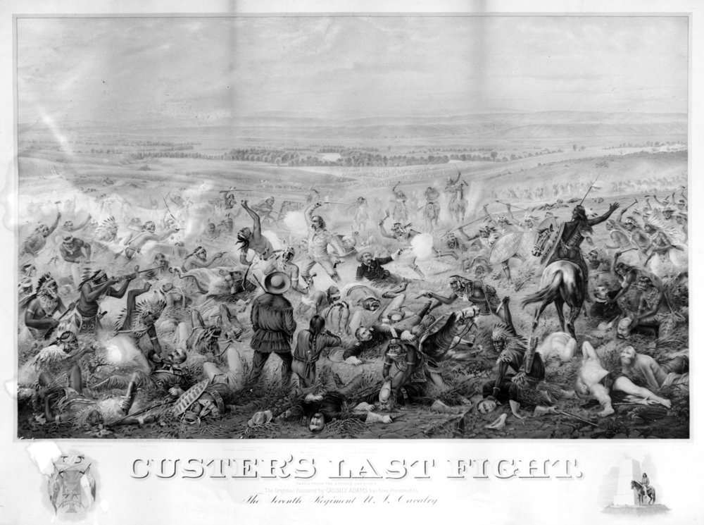 Custer's Last Fight, painted by Cassilly Adams, which depicts the Battle of Little Bighorn. (Image via Kansas Historical Society / kansasmemory.org)