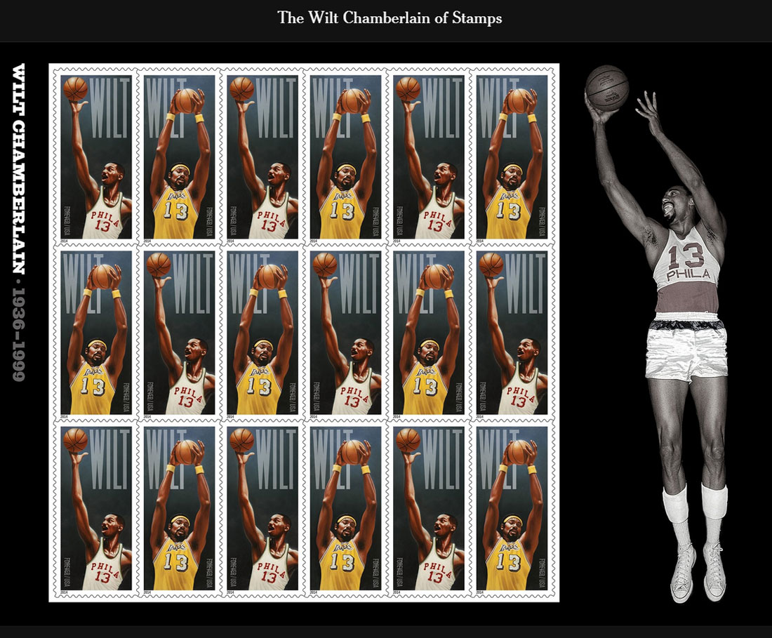 A sheet of stamps honoring Wilt Chamberlain, who will be the first NBA player to be immortalized on a postage stamp. (Image via U.S. Postal Service)