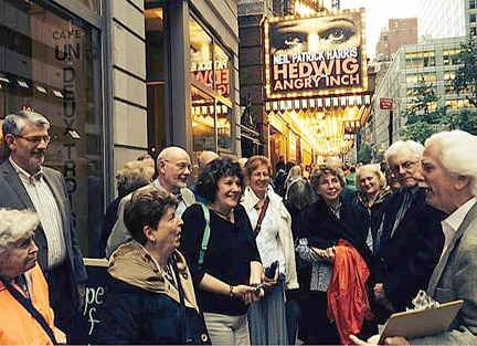 George Harter leads trips that include several Broadway shows, tours of the theater district and famous theater landmarks and fine NYC dining.
