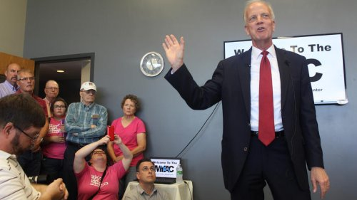 U.S. Senator Jerry Moran spoke at a town hall meeting with his constituents in Palco, Kansas, earlier this month. (photo credit: Kansas News Service)