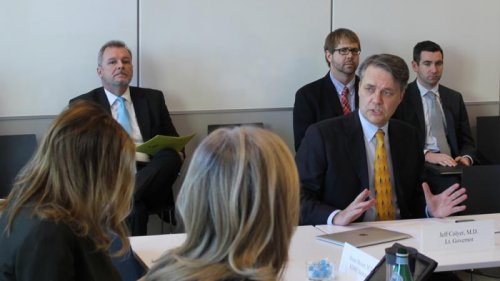 Lieutenant Governor Jeff Colyer speaking at a rural health working group last month. (Photo by Andy Marso, KCUR)