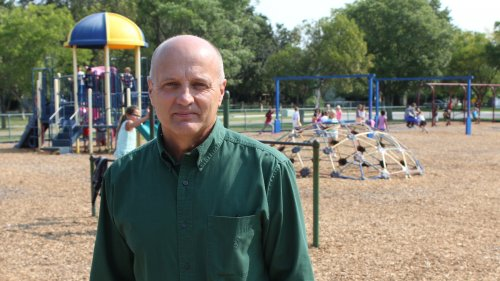 Lawrence Public Schools Superintendent Rick Doll on the playground of Deerfield Elementary School. (Photo by Stephen Koranda)