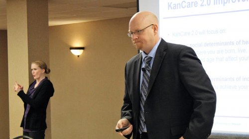 ​ Jon Hamdorf, interim Medicaid director with the Kansas Department of Health and Enviornment, responds to questions at a KanCare 2.0 public hearing last week in Topeka.  (Photo by Jim McLean / Kansas News Service)