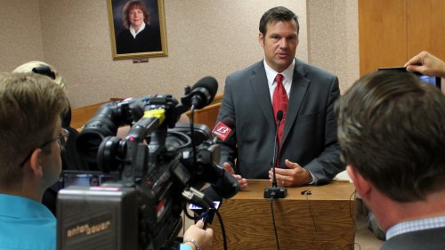 Secretary Kobach speaking last year. (Photo by Stephen Koranda)