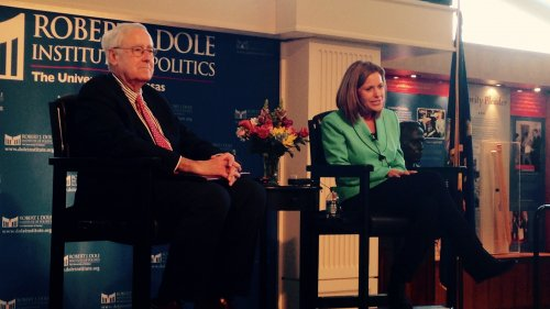 Bill Lacy, director of the Dole Institute of Politics (L), sits next to Kansas Republican Congresswoman Lynn Jenkins, who delivered the 2015 Dole Lecture at the University of Kansas.  Jenkins represents the state's 2nd Congressional District in eastern Kansas. (Photo by KPR News Intern Jeff Carmody)