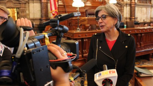 Senate President Susan Wagle speaking to reporters earlier this month. (Photo by Stephen Koranda)
