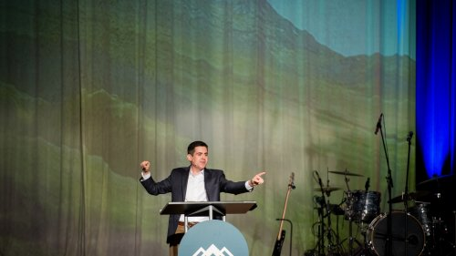"Russell Moore preaching during the first plenary address, ""Black, And White And Red All Over: Why Racial Reconciliation Is A Gospel Issue."""