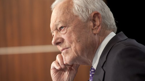 Bob Schieffer on the set of <em>Face the Nation</em> in September.