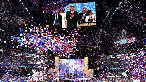 "As balloons fell after Republican presidential candidate Donald Trump accepted his party nomination last night, the Rolling Stones' ""You Can't Always Get What You Want' rang through the arena"