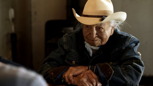 Dave Bald Eagle, at 95, playing the role of Dan in <em>Neither Wolf Nor Dog.</em>