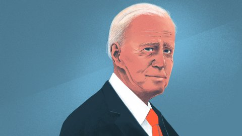 Illustration of President Biden. Credit: Chelsea Beck for NPR