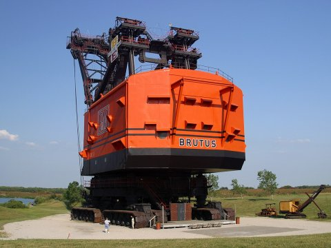 Big Brutus, the second largest electric coal shovel in the world, on display in West Mineral, Kansas.  While it's not the biggest one ever built, it's the biggest one still in existence. (Photo from Wikipedia)