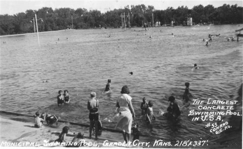 "View of ""The Big Dipper"" located in Garden City, Kansas. At the time, the pool was 218 ft. x 337 ft., and located in Finnup Park. Date: Between 1920 and 1939 (Photo Courtesy of Kansas Historical Society/kansasmemory.org)"