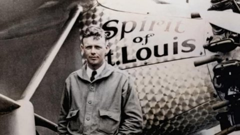 Famed aviator Charles Lindbergh and the Spirit of St. Louis, the plane in which he flew solo across the Atlantic Ocean in 1927.